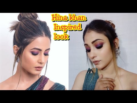 Hina khan Award function inspired makeup || purple smokey eyes