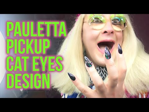 Drag Queen Nails: Blingy Cat Eyes Design on Pauletta