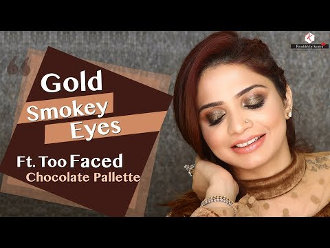 Gold Smokey Eyes Makeup Tutorial | Too Faced Chocolate Bar Palette Review | Krushhh By Konica