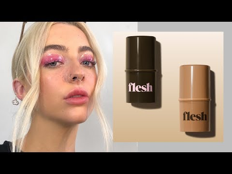 Flesh Beauty Makeup Review + pink glossy eye