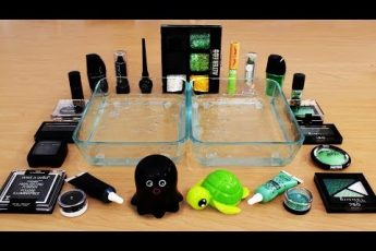 Mixing Makeup Eyeshadow Into Slime! Black vs Green Special Series Part 45 Satisfying Slime Video