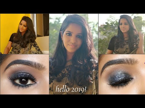Welcome 2019! Black Glitter Smokey Eyes makeup tutorial?