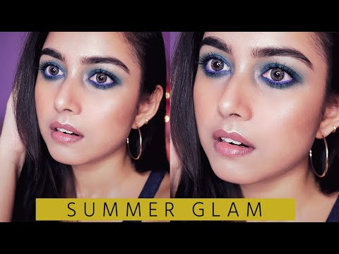 Summer Glam Makeup | Blue Smokey Eyes + Nude Lips | THATPIXIEGURL