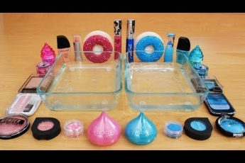 Mixing Makeup Eyeshadow Into Slime! Pink vs Blue Special Series Part 46 Satisfying Slime Video