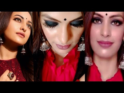 I Recreated Sonakshi Sinha Black Smoke Eyes With Nude Lip Makeup Look ||Priya Deep