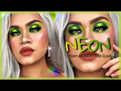 NEON GREEN & YELLOW HALO EYES MAKEUP FT. SNOE BEAUTY ''THE PRIMARIES PAINT PALETTE'' | Sandee Proud