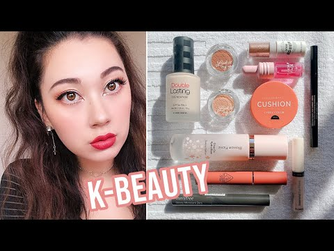 FULL FACE OF K-BEAUTY MAKEUP FIRST IMPRESSIONS | Etude House, 3CE, Aritaum + more!
