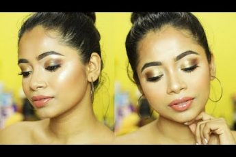 Bronzy Smokey Eye Tutorial In Hindi | Bronze Gold Easy Eye makeup Look | Smokey Eye Makeup