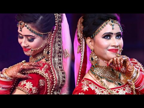 aqua green+ golden glitter  eyes HD bridal makeup look ||step by step in  (hindi )