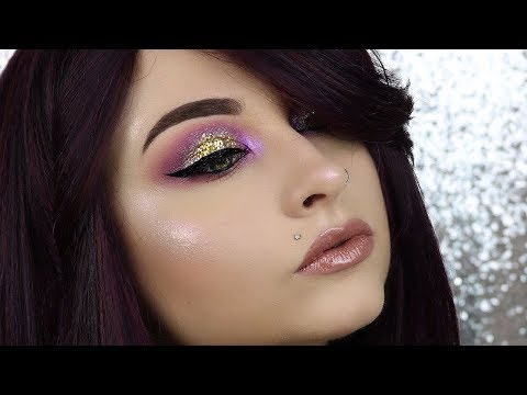 Purple Smokey Eyes Halo Gold Glitter | Full Glam Eyes Makeup Tutorial | Prom Makeup Tutorial GLITTER
