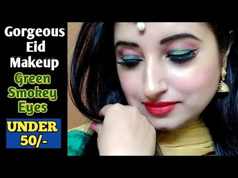 Simple Gorgeous Eid Makeup || Under 50 Rupees || Green Smokey Eyes || Beautiful U