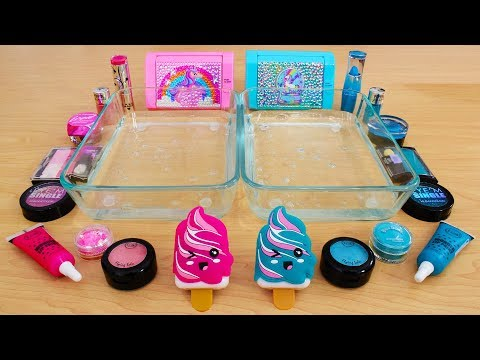 Pink vs Teal – Mixing Makeup Eyeshadow Into Slime! Special Series 77 Satisfying Slime Video