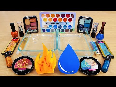 Fire vs Water – Mixing Makeup Eyeshadow Into Slime! Special Series 122 Satisfying Slime Video