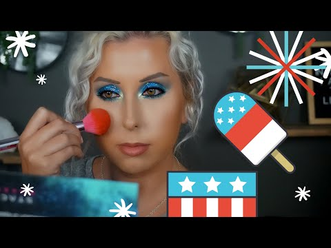 FOURTH OF JULY MAKEUP | BLUE GLITTER EYES