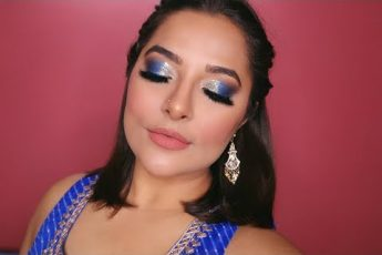 Blue Glitter Smokey Eyes Makeup | Indian Wedding Guest Makeup Tutorial | Anubha