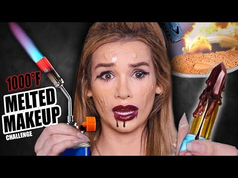 FULL FACE using ONLY MELTED MAKEUP Challenge! (1000°F EXPERIMENT)