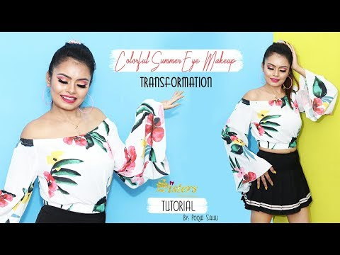 COLOURFUL SUMMER EYE MAKEUP | TRANSFORMATION | tutorial | Pooja Sahu