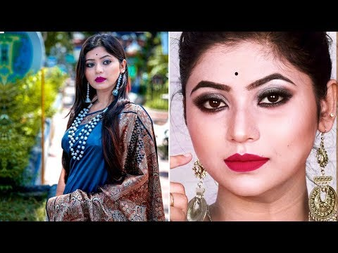 Get Ready With Me| Indian Makeup Tutorial Silver Black Smokey Eyes