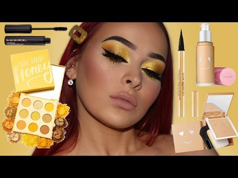 TESTING NEW MAKEUP LAUNCHES | Easy Yellow Makeup Tutorial