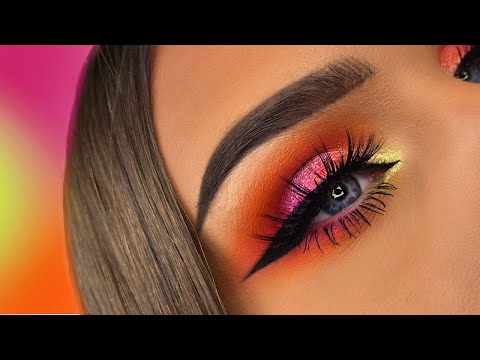HUDA BEAUTY NEON ORANGE PINK GREEN OBSESSIONS PALETTES | MAKEUP TUTORIAL