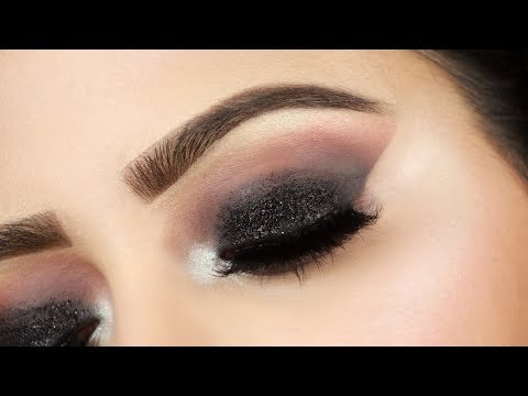 Step by Step Black Glitter Smokey Eye Makeup Tutorial(HINDI) |Deepti Ghai Sharma
