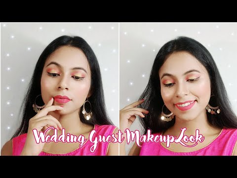 WEDDING GUEST MAKEUP LOOK ❤ | PINK AND GOLDEN HALO EYES | EASY TEENAGER MAKEUP LOOK