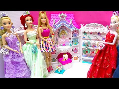 Barbie Makeup Jewelry Room Disney Princess Rapunzel Frozen Ariel New Accessory Review