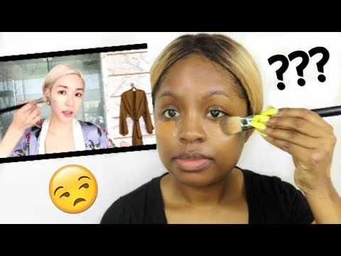 BLACK GIRL TRIES FOLLOWING A KPOP STAR MAKEUP TUTORIAL