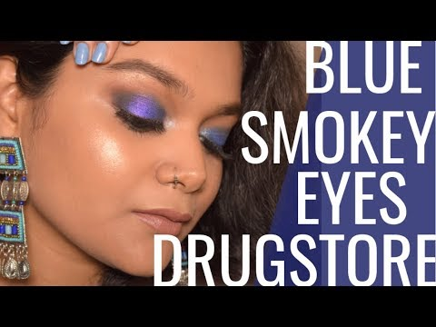 Drugstore Blue Smokey Eyes Makeup Tutorial