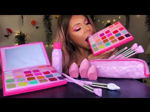 ASMR EDIBLE MORPHE X JEFFREE STAR ARTISTRY PALETTE, MAKEUP BRUSHES, BEAUTY BLENDER EATING SHOW 먹방