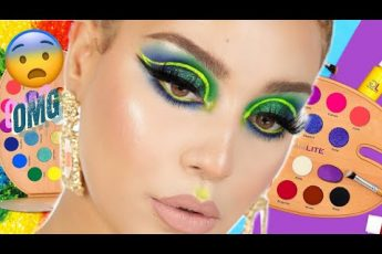 COLORFUL NEON CUT CREASE EYE MAKEUP TUTORIAL REVIEW + SWATCHES
