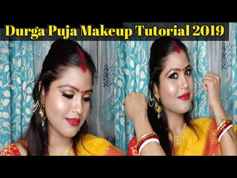 DURGA PUJA MAKEUP | TRADITIONAL BENGALI MAKEUP TUTORIAL | 2019 | Gold Glitter eyes + Bold Red Lips