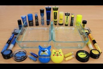 Blue vs Yellow – Mixing Makeup Eyeshadow Into Slime Special Series 179 Satisfying Slime Video