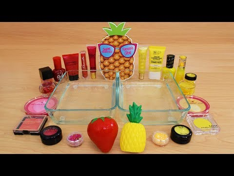 Strawberry vs Pineapple Mixing Makeup Eyeshadow Into Slime Special Series 195 Satisfying Slime Video