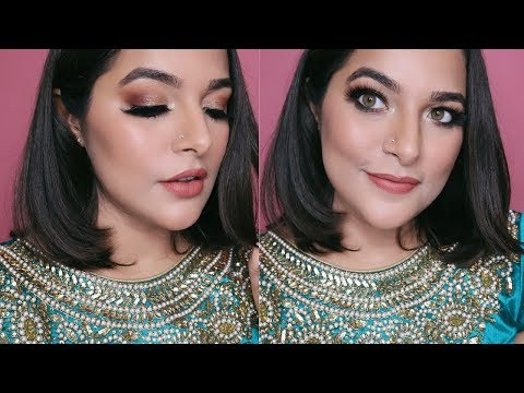 Brown GLITTER Smokey Eyes with NUDE LIPS | Navratri/Durga Puja Makeup | Anubha Mishra