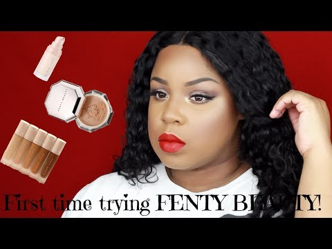 FIRST TIME TRYING FENTY BEAUTY?! | SOFT EYES AND A BOLD RED LIP | Aja Love