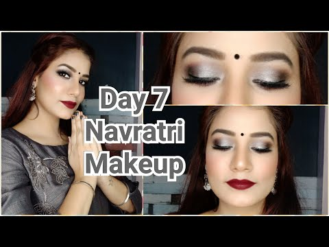 2019 Navratri Day 7 Makeup Look ? Grey Smokey Eyes | Grey Dress Makeup Look ? #NavrangiNavratri