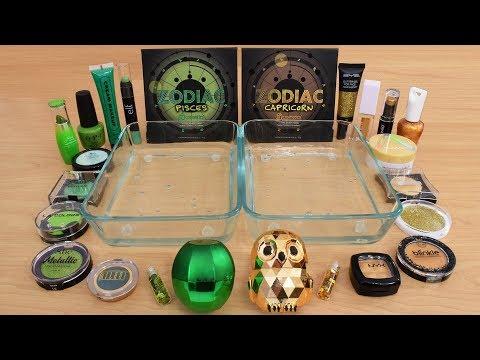 Green vs Gold – Mixing Makeup Eyeshadow Into Slime Special Series 203 Satisfying Slime Video