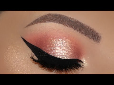 Glitter Halo Eyes Makeup HUDA BEAUTY NEON & ROSE GOLD Palette | Melissa Samways