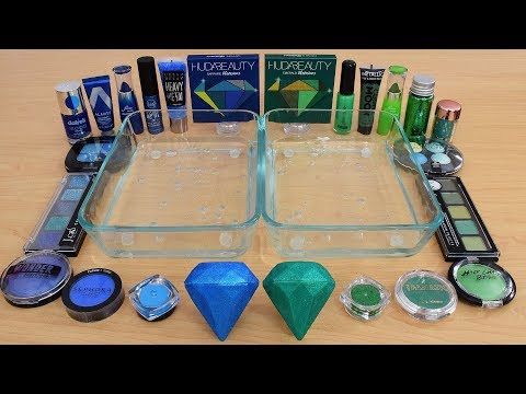 Blue vs Green – Mixing Makeup Eyeshadow Into Slime Special Series 210 Satisfying Slime Video