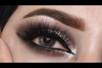 Silver Glittery Smokey eyes makeup Wedding Guest Makeup Tutorial #smokeyeyes #silverglitterymakeup
