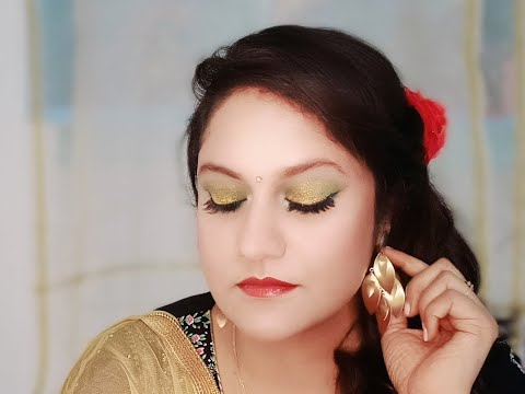 GOLD GREEN GLITTERY SMOKEY EYES| WEDDING GUEST EASY MAKEUP