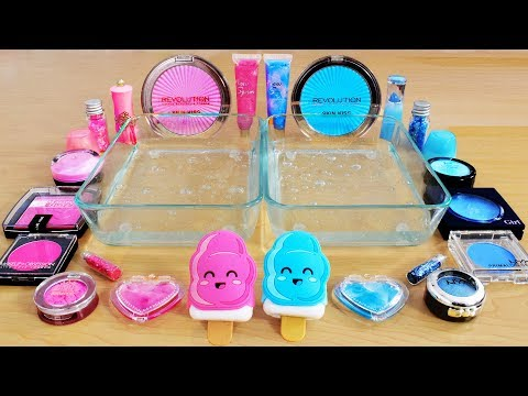 Pink vs Blue – Mixing Makeup Eyeshadow Into Slime! Special Series 68 Satisfying Slime Video