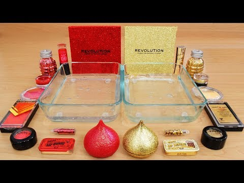 Red vs Gold – Mixing Makeup Eyeshadow Into Slime! Special Series 73 Satisfying Slime Video