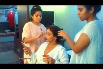 Vidya Balan Total Makeover In Make up room with Fashionable Dress