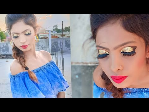 How to do golden glittery eyes makeup look|| for all type makeup