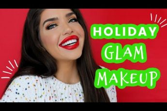 EASY HOLIDAY GLAM MAKEUP | Glitter Eyes & Classic Red Lip Tutorial