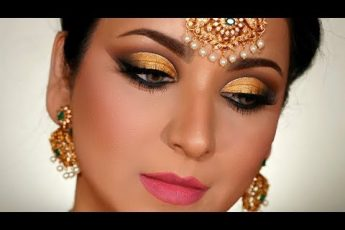 How To: PERFECT Gold Cutcrease INDIAN BRIDAL Eye Makeup Look (Hooded Eyes)