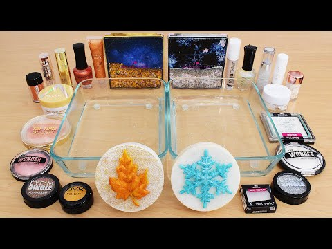 Fall vs Winter – Mixing Makeup Eyeshadow Into Slime ASMR 270 Satisfying Slime Video