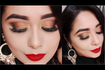 Long Lasting 2020 New Year's Eve Glam Makeup Tutorial | Copper Glitter Eyes